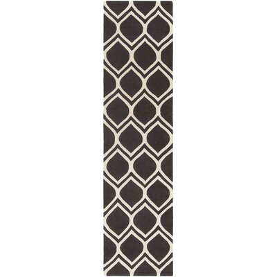 Zellner Hand-Tufted Black/Beige Area Rug Rug Size: Runner 2 x 8