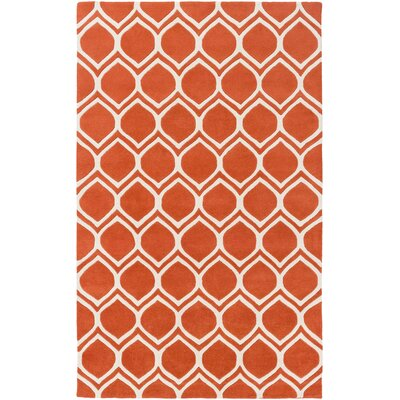 Zellner Hand-Tufted Tangerine/Beige Area Rug Rug Size: Rectangle 5 x 8