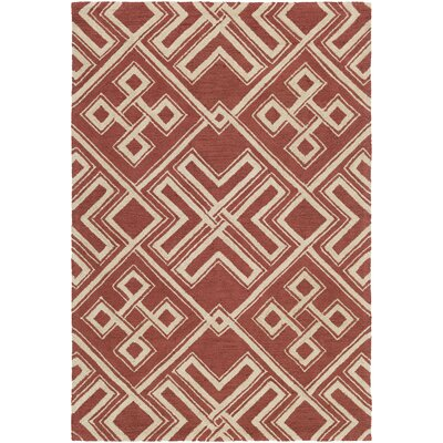 Joyal Hand-Tufted Red/Beige Area Rug Rug Size: Rectangle 2 x 3