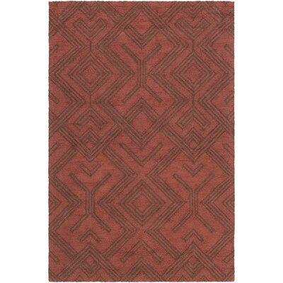 Litwin Hand-Tufted Red/Chocolate Area Rug Rug Size: Rectangle 5 x 76