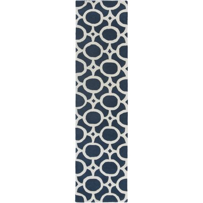 Murrow Hand-Tufted Royal Blue/Beige Area Rug Rug Size: Runner 2 x 8