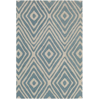Juhasz Hand-Tufted Blue/Beige Area Rug Rug Size: Rectangle 5 x 76