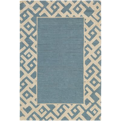 Judkins Hand-Tufted Light Blue/Beige Area Rug Rug Size: Rectangle 5 x 76