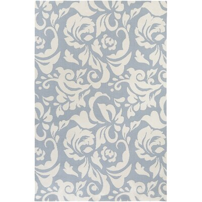 Ducote Light Blue/Ivory Area Rug Rug Size: Rectangle 76 x 96