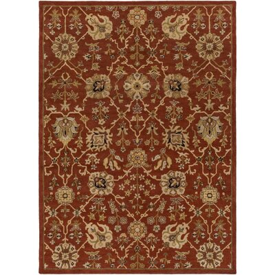 Dutil Hand-Tufted Crimson/Beige Area Rug Rug Size: Rectangle 76 x 96