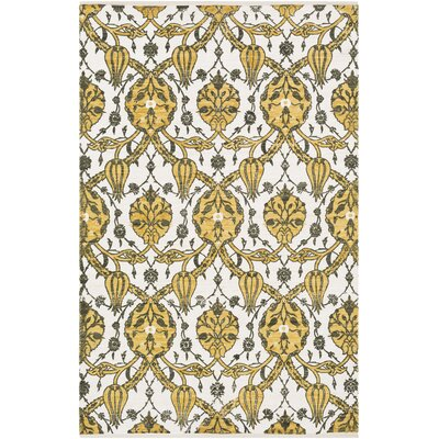 Detwiler Hand-Woven Yellow/Gray Area Rug Rug Size: Rectangle 4 x 6