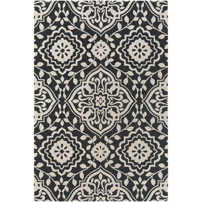 Kesler Black/Ivory Area Rug Rug Size: Rectangle 76 x 96