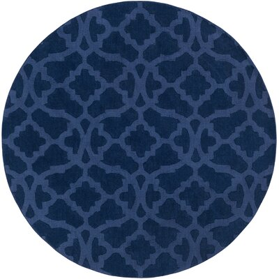 Hennings Handmade Navy Blue Area Rug Rug Size: Round 6