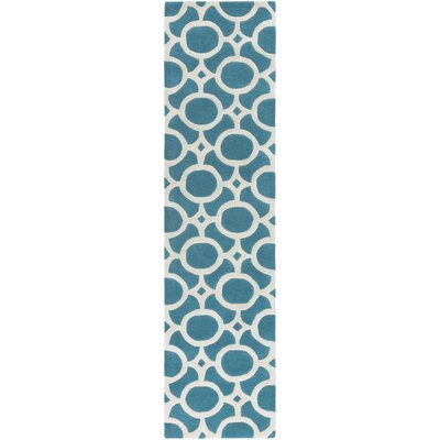 Murrow Hand-Tufted Aqua/Beige Area Rug Rug Size: Runner 2 x 8