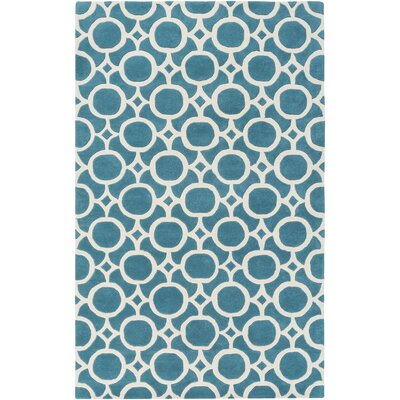Murrow Hand-Tufted Aqua/Beige Area Rug Rug Size: Rectangle 5 x 8