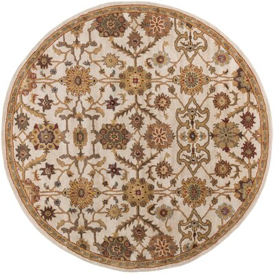 Philson Hand-Tufted Tan/Gray Area Rug Rug Size: Round 36