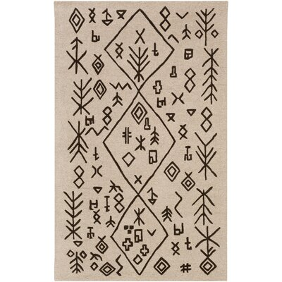 Litz Hand-Tufted Tan Area Rug Rug Size: Rectangle 4 x 6