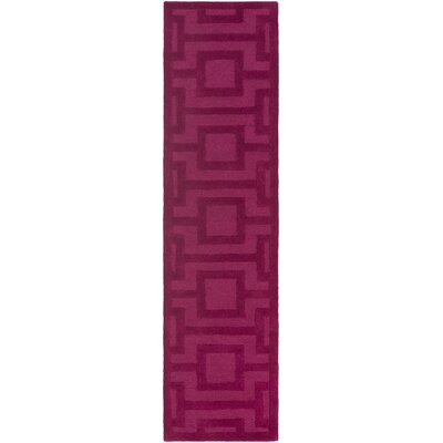 Poland Washington Hand-Tufted Rasberry Area Rug Rug Size: Runner 2 x 8