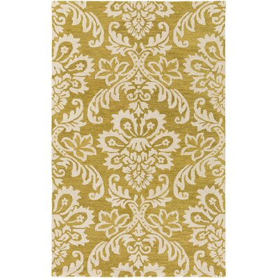 Kimberlin Hand-Tufted Gold/Off-White Area Rug Rug Size: Rectangle 4 x 6