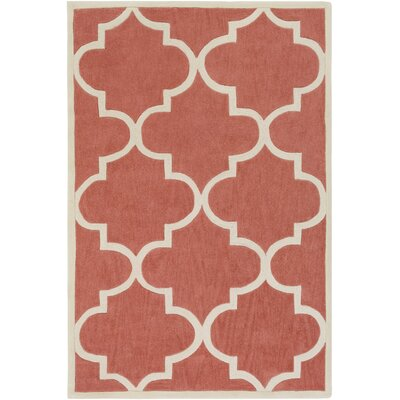 Alfson Hand-Tufted Coral/Ivory Area Rug Rug Size: Rectangle 76 x 96