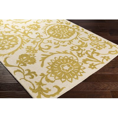 Rhodes Maggie Hand-Tufted Gold/Off-White Area Rug Rug Size: Runner 2 x 8