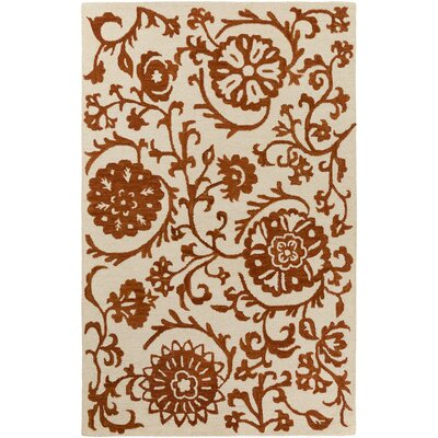 Aylor Hand-Tufted Rust/Off-White Area Rug Rug Size: Rectangle 5 x 8
