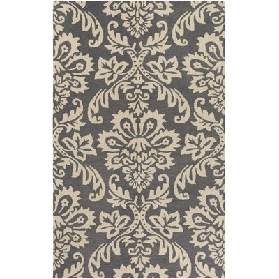 Kimberlin Hand-Tufted Dark Gray/Off-White Area Rug Rug Size: Rectangle 4 x 6