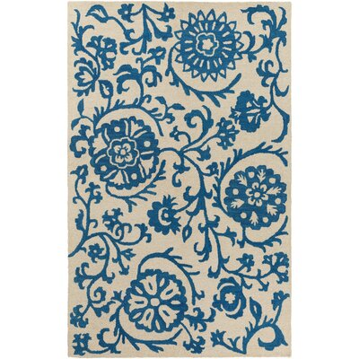 Aylor Hand-Tufted Royal Blue/Off-White Area Rug Rug Size: Rectangle 4 x 6