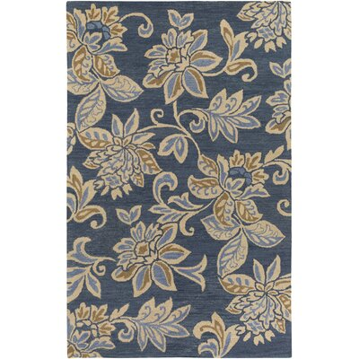 Eberhard Hand-Tufted Blue/Off-White Area Rug Rug Size: Rectangle 4 x 6