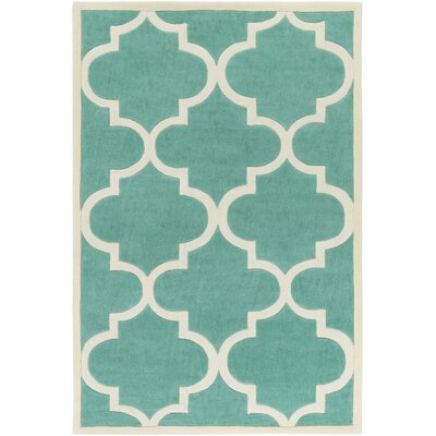 Daubert Hand-Tufted Mint/Ivory Area Rug Rug Size: Rectangle 5 x 76