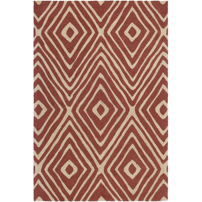 Congo Ella Hand-Tufted Red/Beige Area Rug Rug Size: Runner 23 x 8