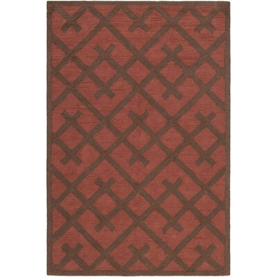 Wycoff Hand-Tufted Red/Brown Area Rug Rug Size: Rectangle 76 x 96