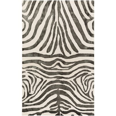 Petunia Hand Tufted Wool Black Area Rug Rug Size: 5 x 8