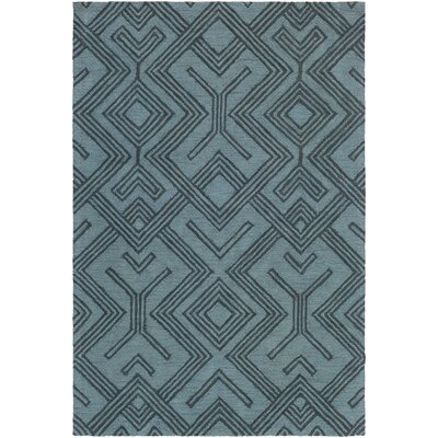 Litwin Hand-Tufted Light Blue/Navy Area Rug Rug Size: Rectangle 76 x 96