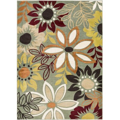 Muhammad Green Area Rug Rug Size: Rectangle 53 x 73