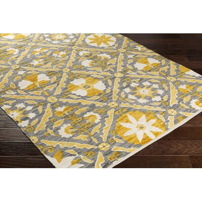 Elaine Gavin Hand Woven Cotton Yellow/Gray Area Rug Rug Size: 8 x 11