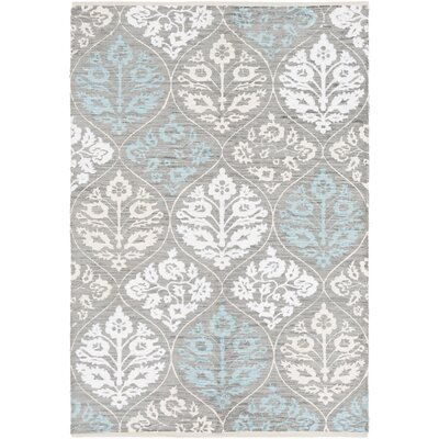 Deutsch Hand Woven Cotton Blue/Ivory Area Rug Rug Size: Rectangle 5 x 76