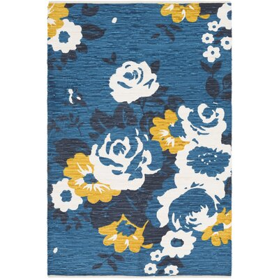 Elmsford Hand-Woven Blue Area Rug Rug Size: Rectangle 4 x 6