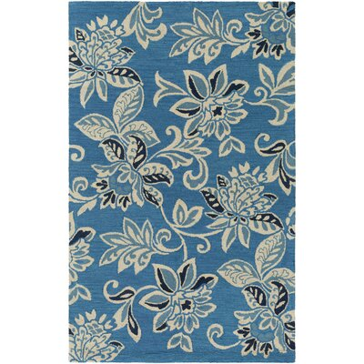 Eberhard Hand-Tufted Teal Blue/Off-White Area Rug Rug Size: Rectangle 5 x 8