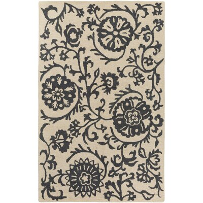 Aylor Hand-Tufted Ivory/Black Area Rug Rug Size: Rectangle 5 x 8