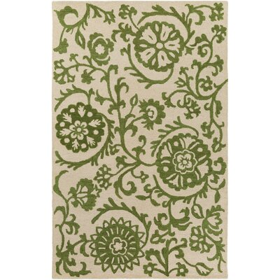 Aylor Hand-Tufted Green/Off-White Area Rug Rug Size: Rectangle 4 x 6