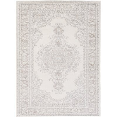 Potter Alyssa Hand-Woven Ivory/Gray Area Rug Rug Size: 53 x 73