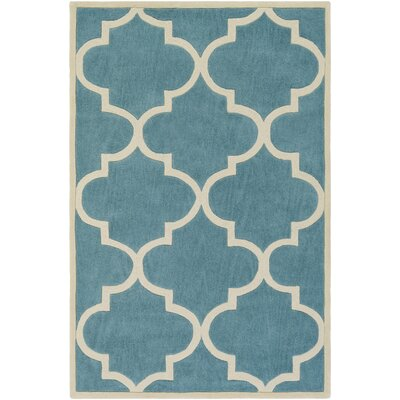 Alfson Hand-Tufted Aqua/Ivory Area Rug Rug Size: Rectangle 76 x 96