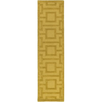 Poland Washington Hand-Tufted Gold Area Rug Rug Size: Runner 2 x 8