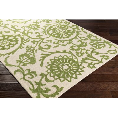 Rhodes Maggie Hand-Tufted Green/Off-White Area Rug Rug Size: Runner 2 x 8
