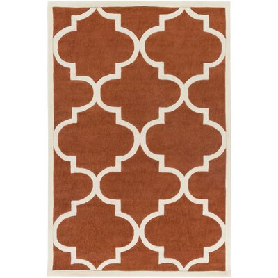 Daubert Hand-Tufted Rust/Ivory Area Rug Rug Size: Rectangle 5 x 76