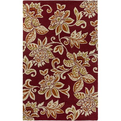 Eberhard Hand-Tufted Red/Off-White Area Rug Rug Size: Rectangle 4 x 6