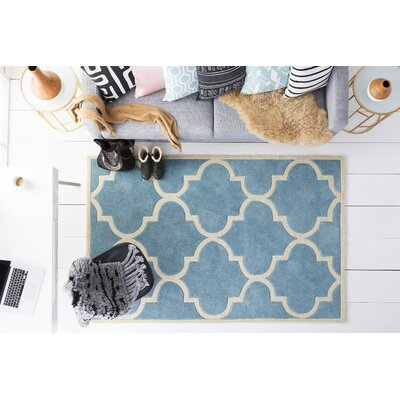 Alfson Hand-Tufted Aqua/Ivory Area Rug Rug Size: Runner 23 x 8