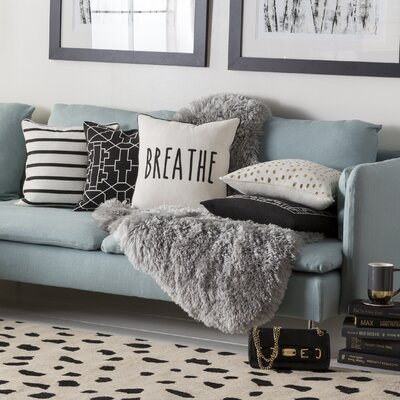 Carnell Breathe Cotton Throw Pillow Cover Color: White/ Black