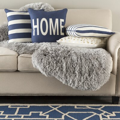 Carnell Home Cotton Throw Pillow Cover Color: Navy/ White