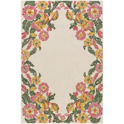 Mayan Polo Hand-Tufted Carnation Pink / Kelly Green Indoor/Outdoor Area Rug Rug Size: 4 x 6