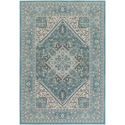 Pickerel Turquoise/Ivory Area Rug Rug Size: Rectangle 53 x 76