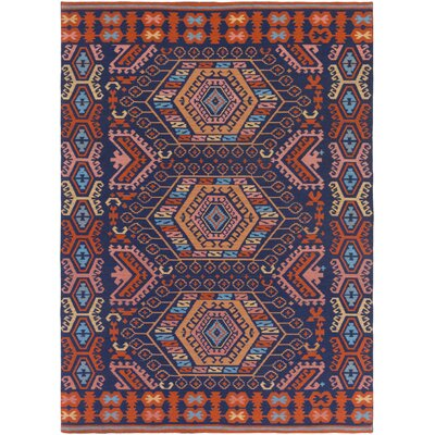Sajal Cleo Handmade Poppy Red/Navy Blue Indoor/Outdoor Area Rug Rug Size: 4' x 6'