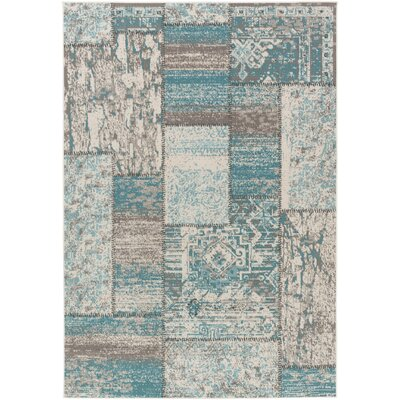 Kimes Turquoise / Ivory Area Rug Rug Size: Rectangle 3'11