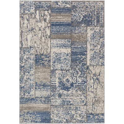 Kimes Denim Blue / Ivory Area Rug Rug Size: Rectangle 2'2